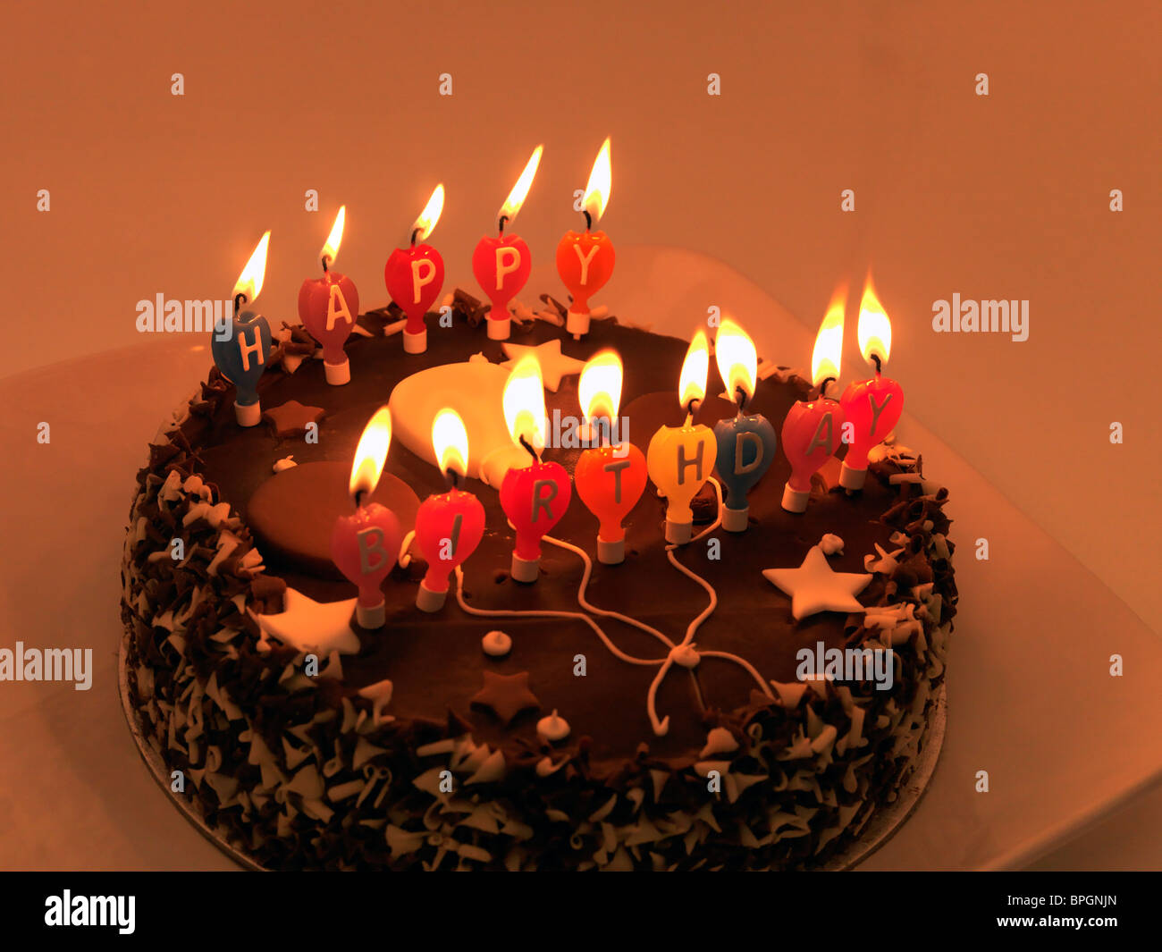 Magnificent Chocolate Birthday Cake With Candles Stock Photo 31101021 Alamy Funny Birthday Cards Online Elaedamsfinfo