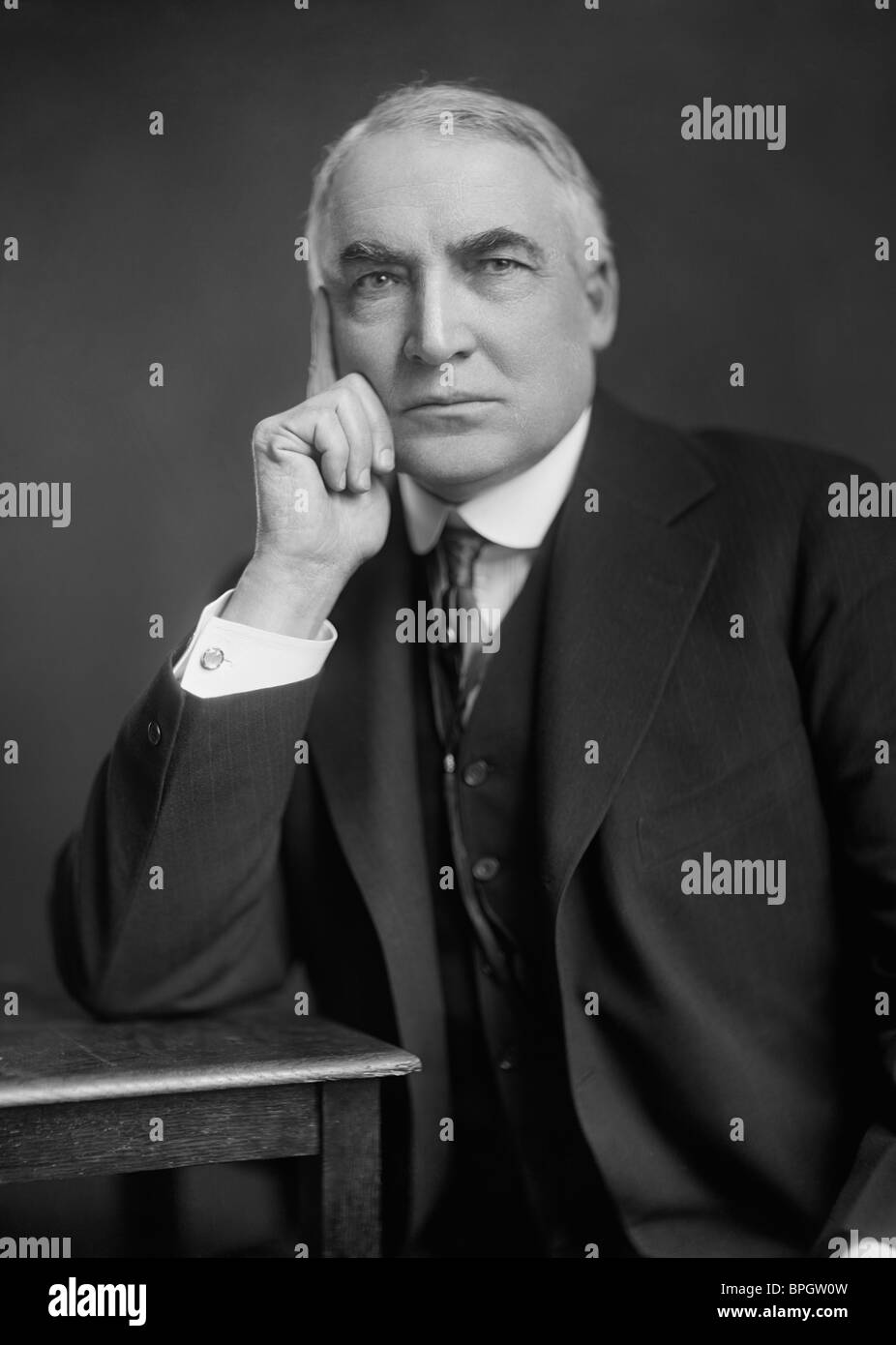 Portrait photo circa 1920 of Warren G. Harding (1865 - 1923) - the 29th US President (1921 - 1923). - Stock Image
