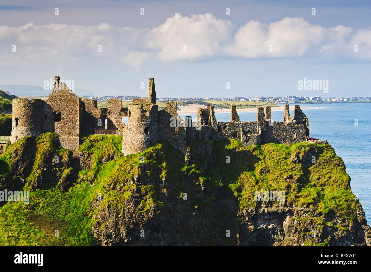 Dunluce Castle, original home of Sorley Boy MacDonnell, overlooking the north County Antrim coast, Northern Ireland - Stock Image