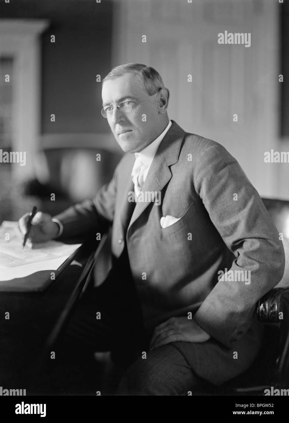 Portrait photo circa 1910s of Woodrow Wilson (1856 - 1924) - the 28th US President (1913 - 1921). - Stock Image
