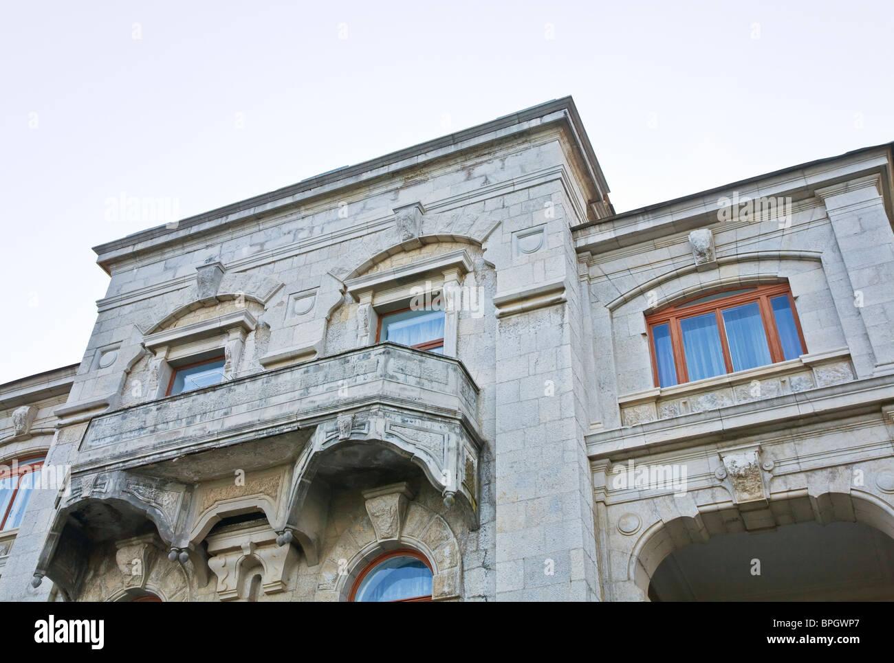 Fragment of Livadia Palace (summer retreat of the last Russian tsar, Nicholas II, Crimea, Ukraine). - Stock Image