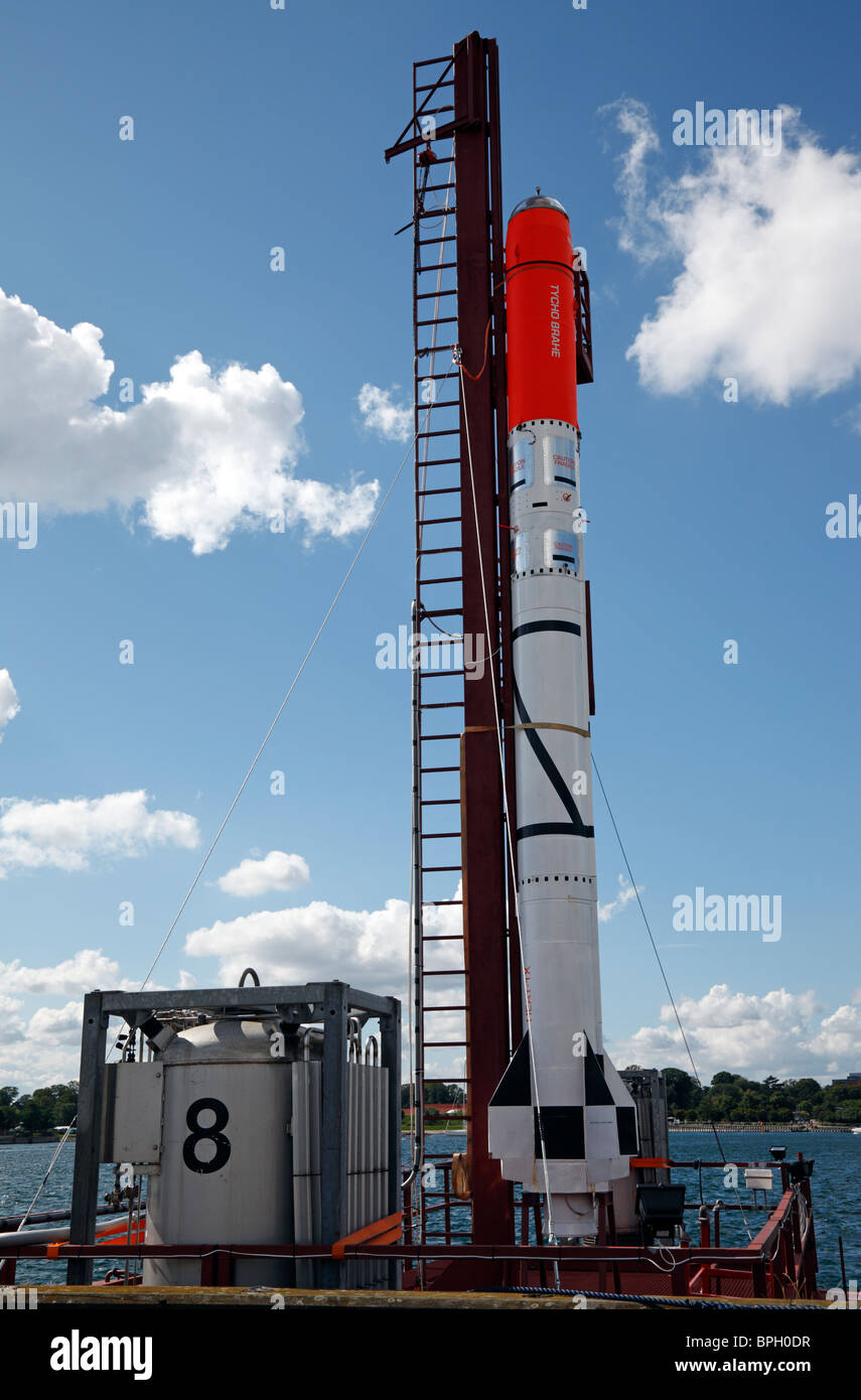 The first Danish amateur-built rocket nicknamed HEAT on its launch rig moored in the port of Copenhagen - Stock Image