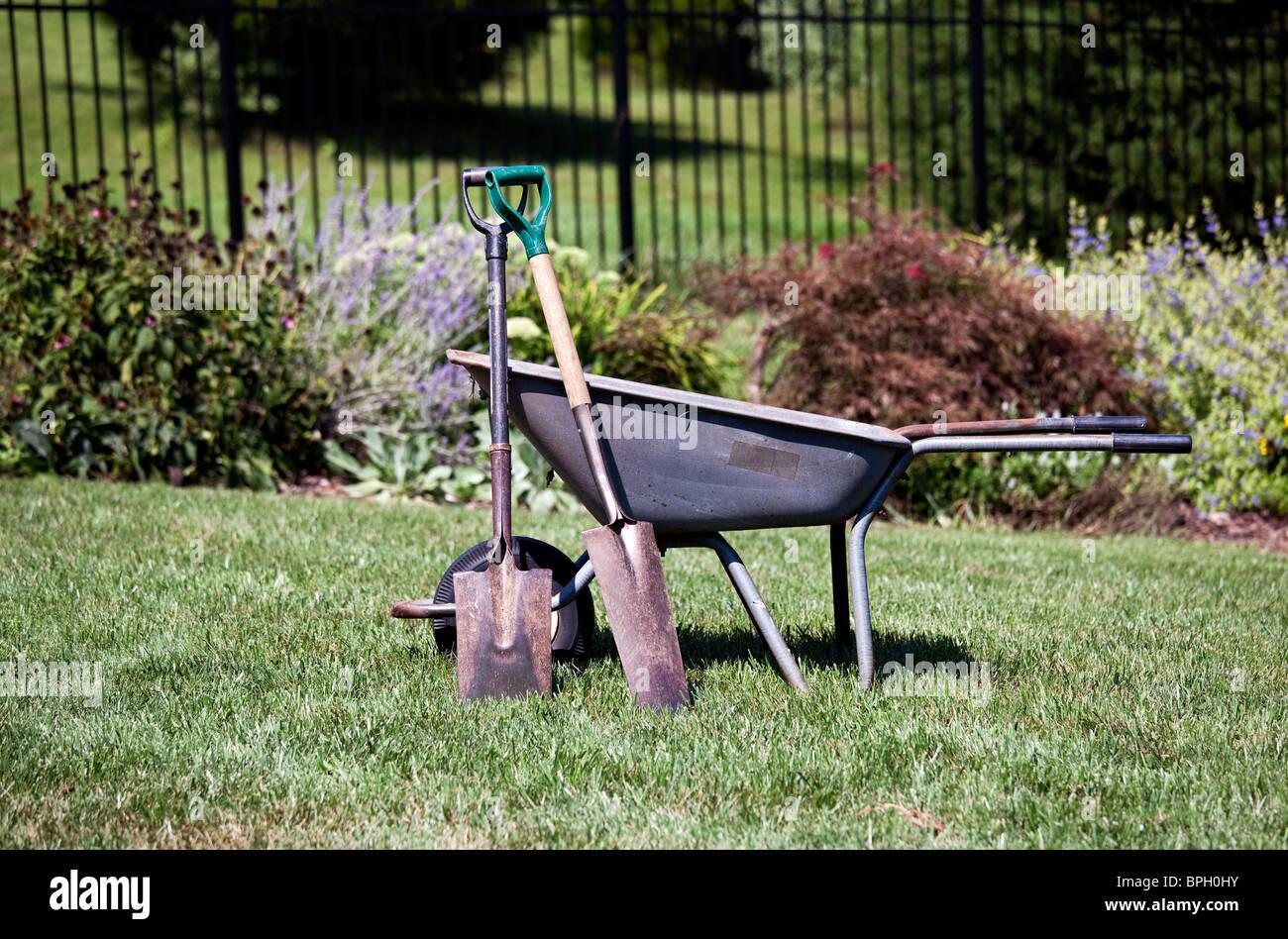 Garden tools - Pair of spades resting against a wheelbarrow in backyard garden - Stock Image
