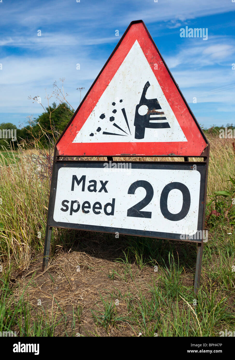 roadworks temporary speed limit sign - Stock Image