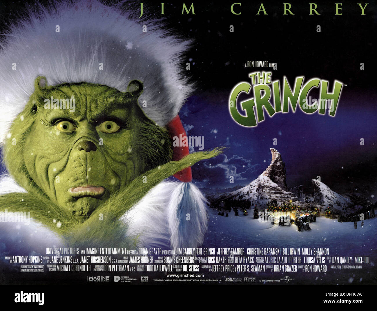 How The Grinch Stole Christmas Movie Poster.Jim Carrey Poster How The Grinch Stole Christmas 2000 Stock
