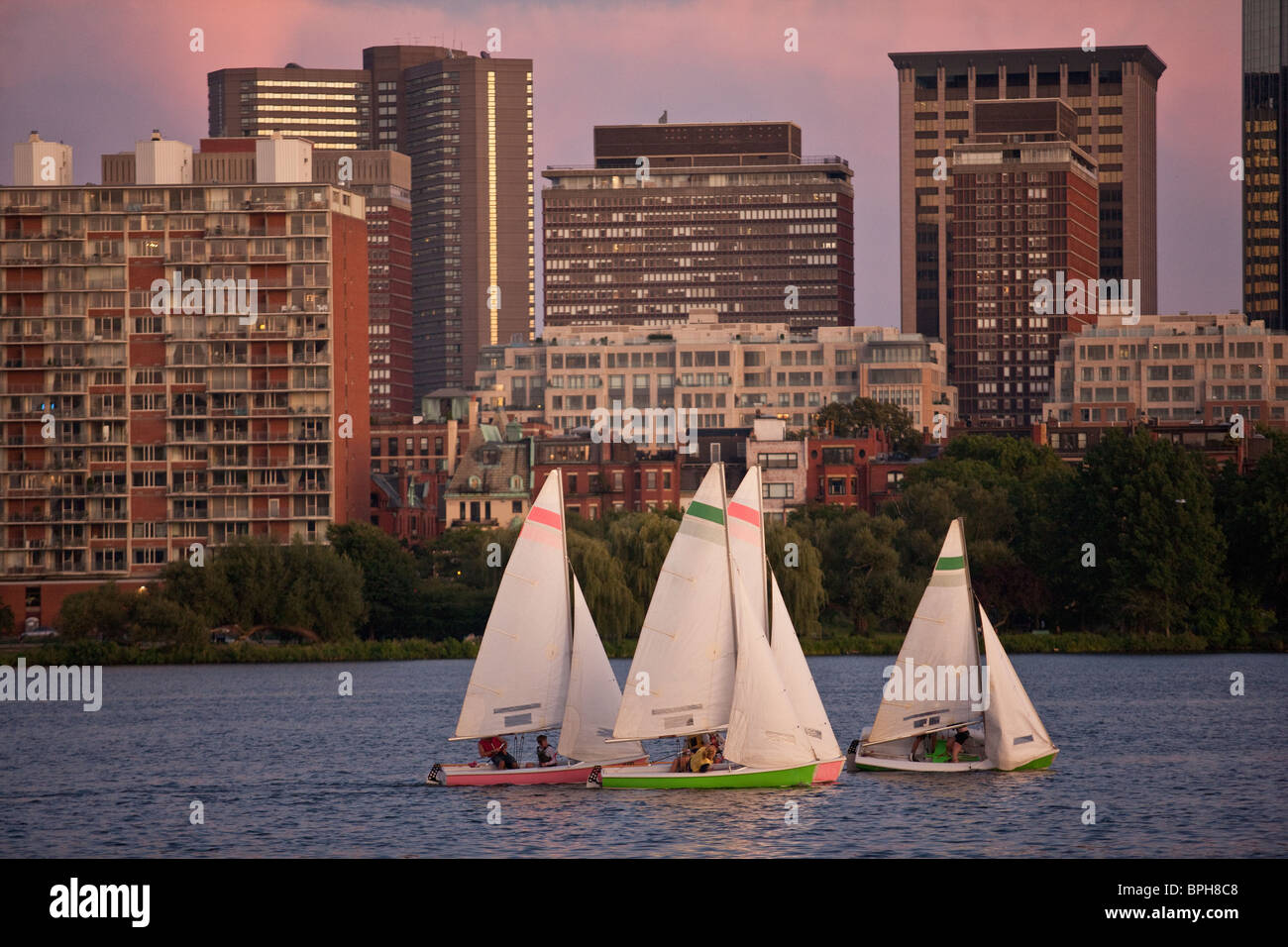 Sailboats with a city at the waterfront, Charles River, Back Bay, Boston, Massachusetts, USA - Stock Image