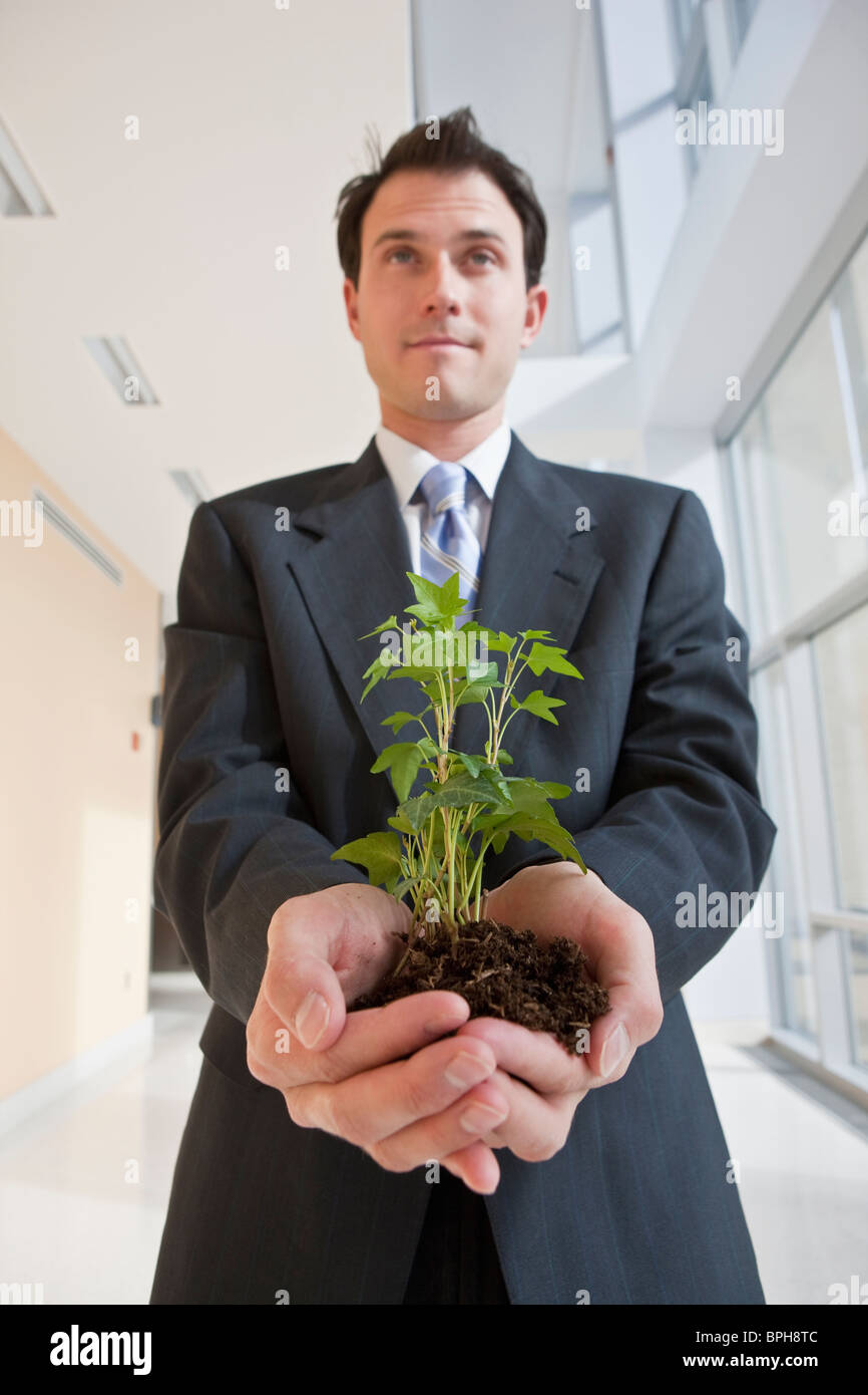 Businessman holding a plant - Stock Image