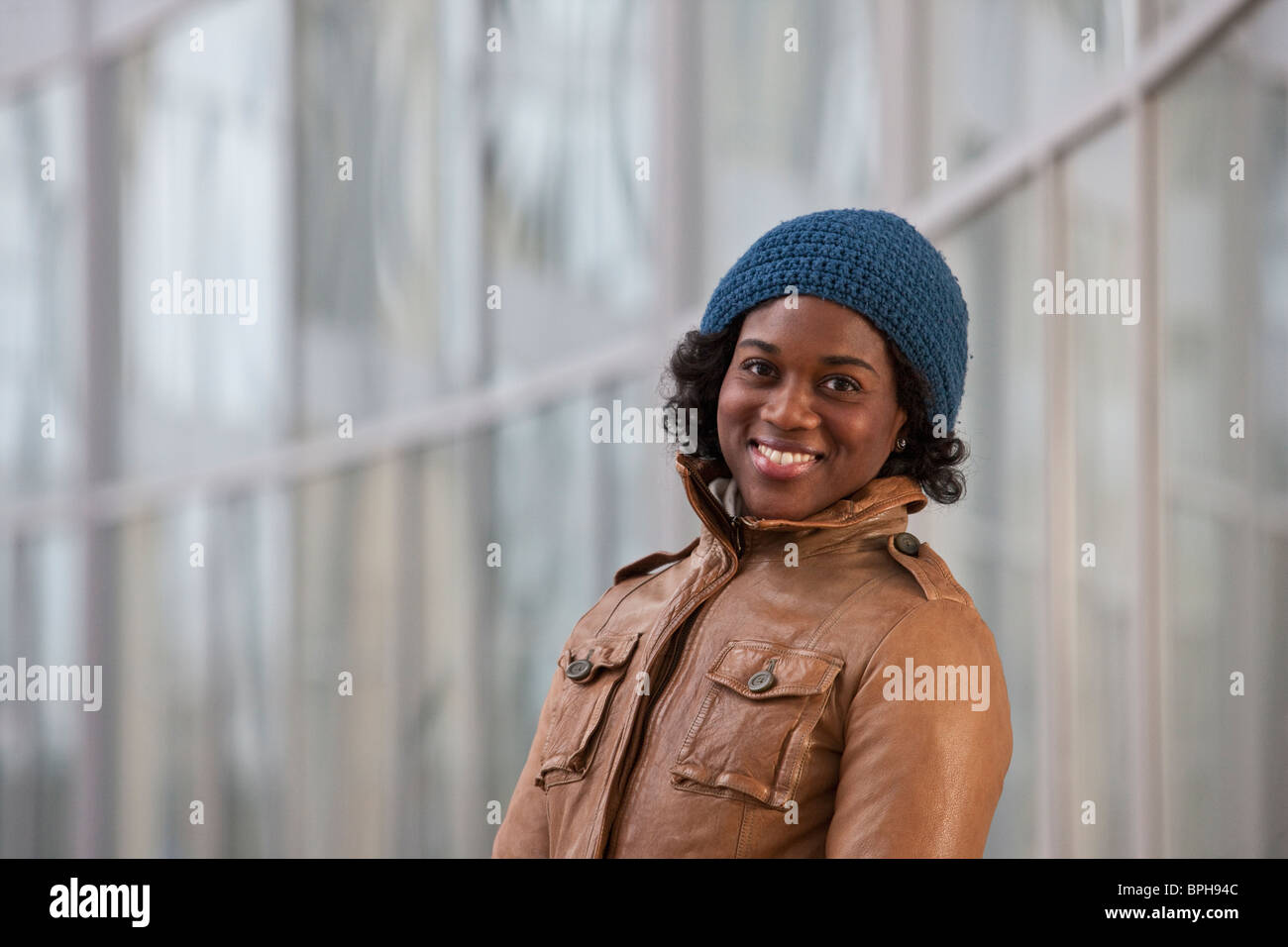 Portrait of a Jamaican woman smiling - Stock Image