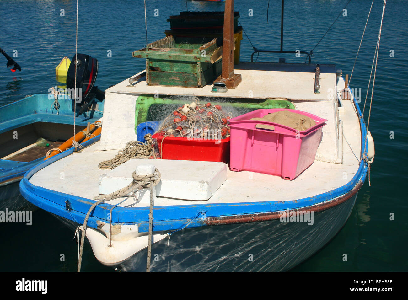 Fishing boat with equipment - Stock Image