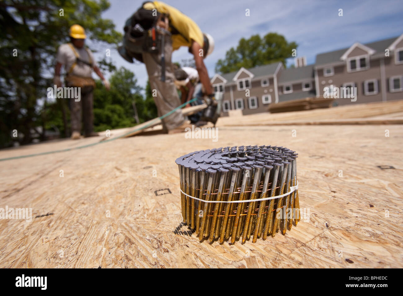 Bundle of nails with a carpenter using nail gun in the background Stock Photo