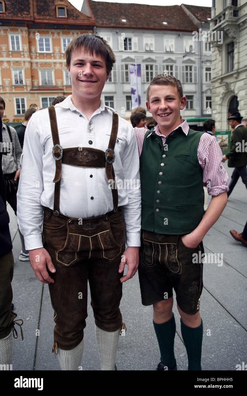 Pupils wearing Lederhosen, Hauptplatz, Graz, Styria, Austria - Stock Image
