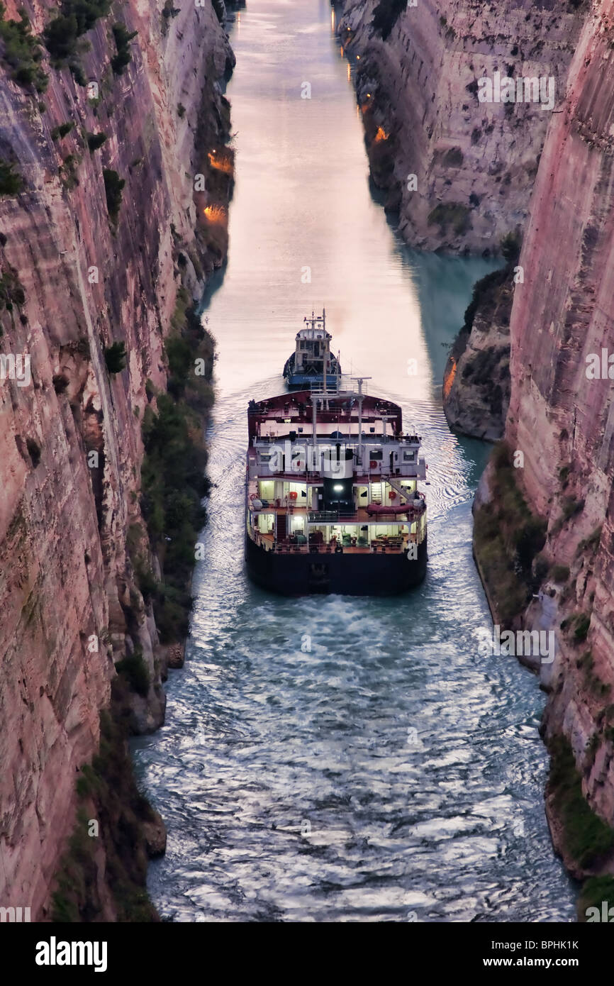 Ship crossing the Corinth Canal in Greece. Stock Photo