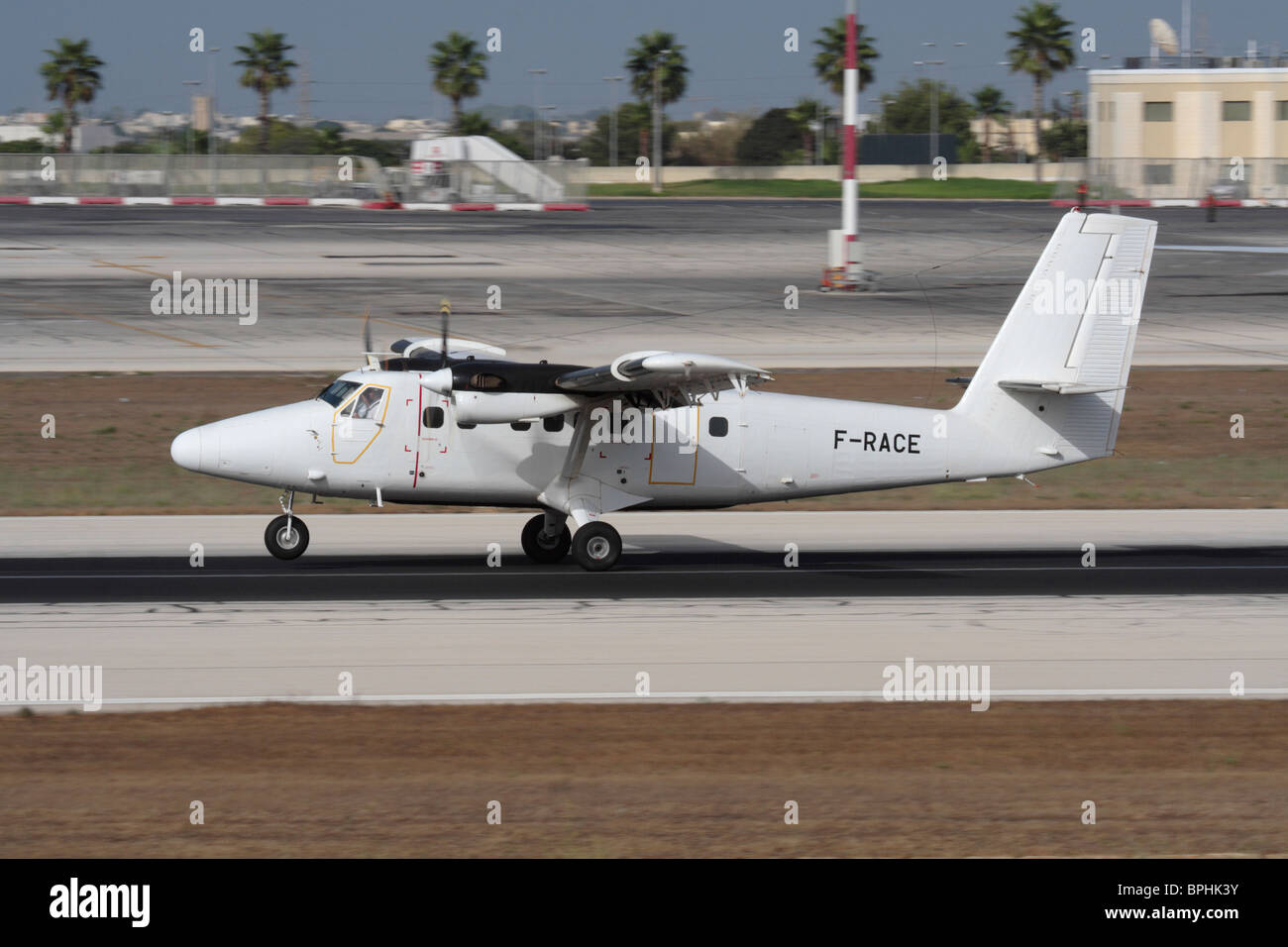 de Havilland Canada DHC-6 Twin Otter turboprop utility aircraft on the runway in Malta - Stock Image