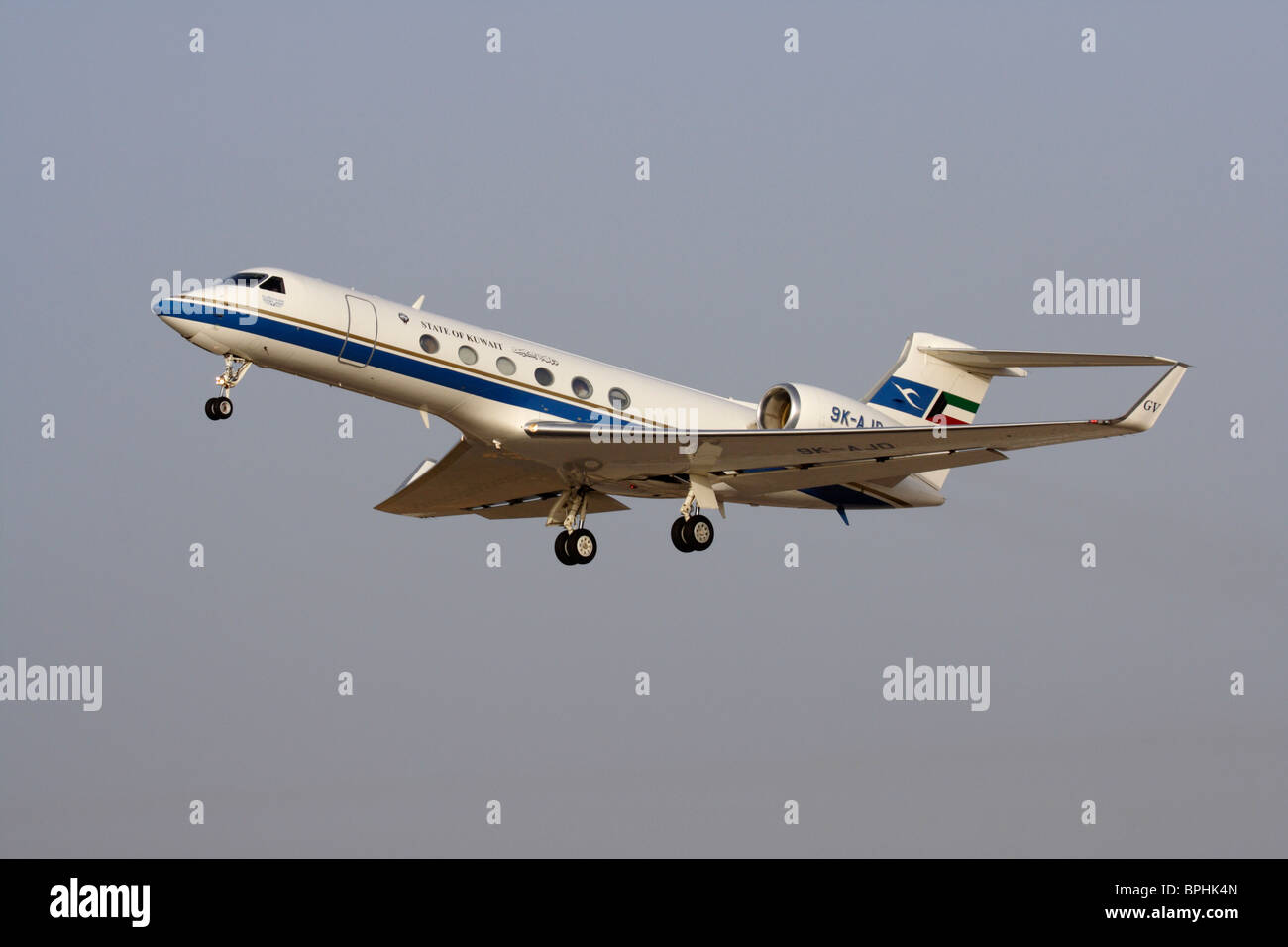 Government of Kuwait Gulfstream V executive jet, used in an official VIP transport role, taking off - Stock Image