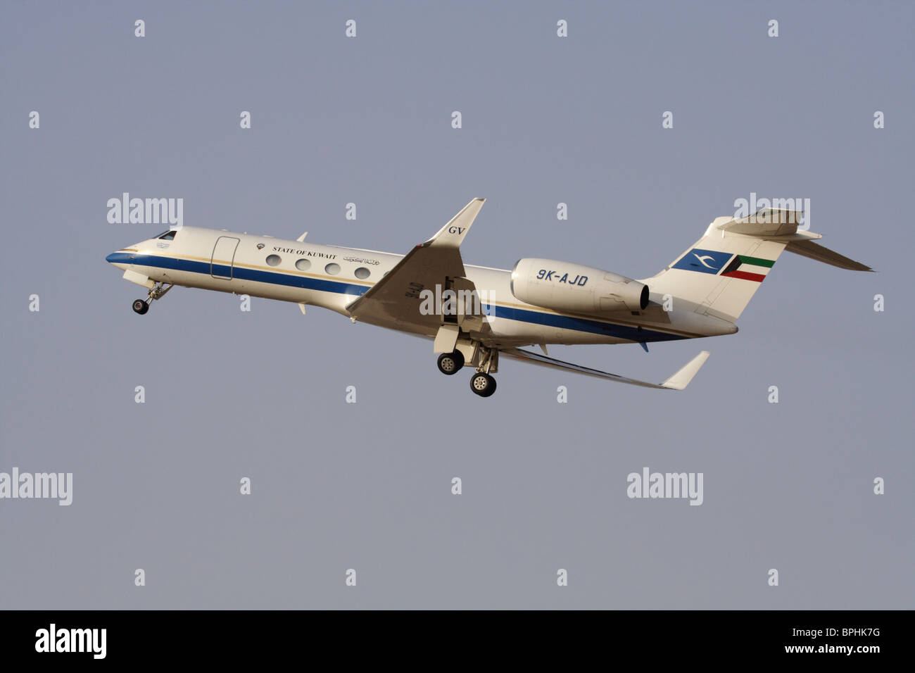 Kuwait Government Gulfstream V business jet, used in an official VIP transport role, shown on takeoff - Stock Image