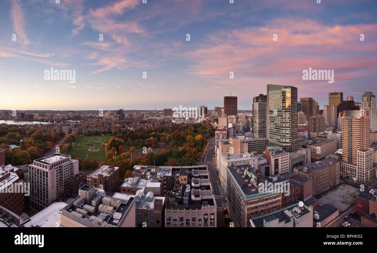 High angle view of a garden in a city, Boston Public Garden, Financial District, Boston, Suffolk County, Massachusetts, - Stock Image