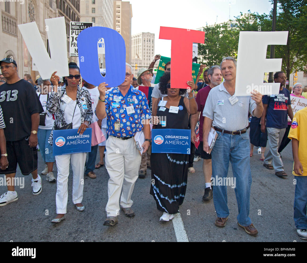 March for Jobs, Peace & Justice Organized by United Auto Workers and Rainbow PUSH - Stock Image