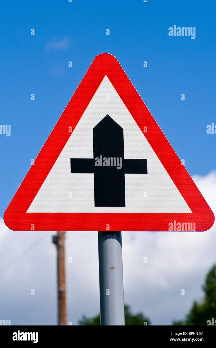 Crossroads UK Road Traffic Sign Signs - Stock Image