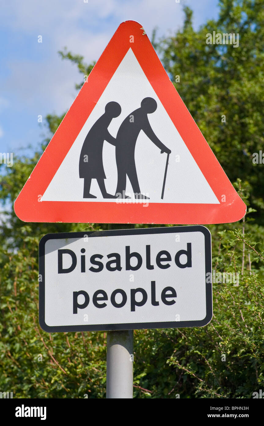 Disabled People UK Road Sign - Stock Image