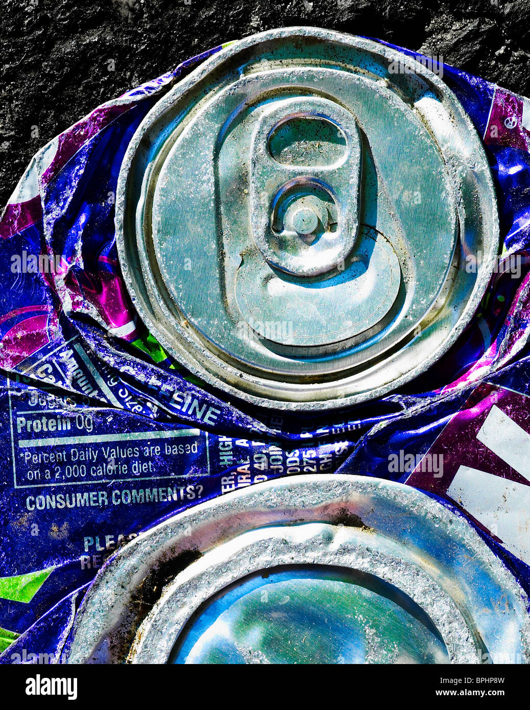 Crushed Flattened Soda Pop Can - Stock Image