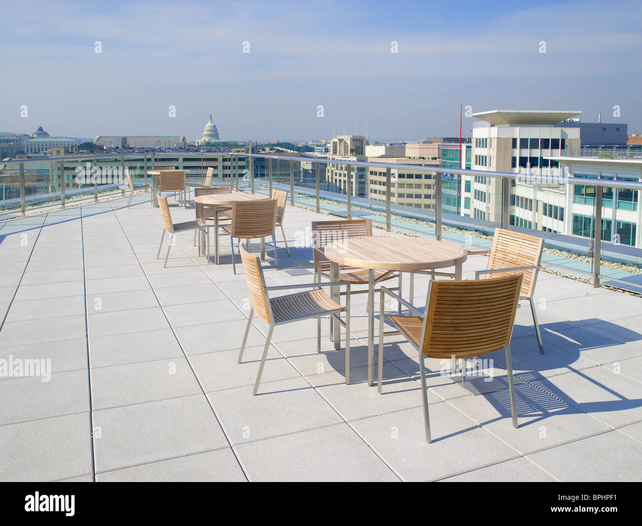 Rooftop Patio With Capitol In Background, Washington DC, USA - Stock Image