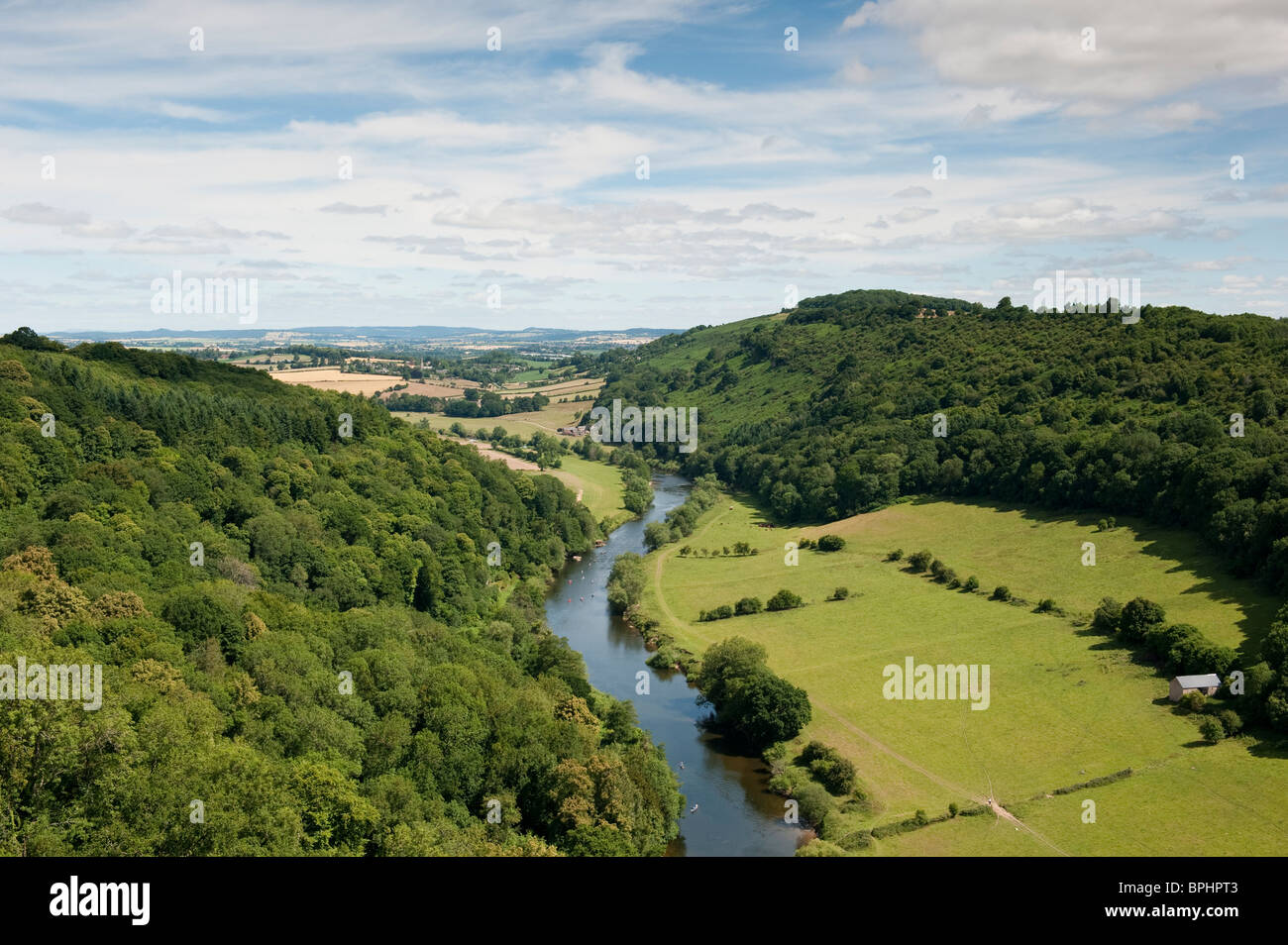 View of the river wye, from Symons Yat rock, in the wye valley, Forest of Dean. Rowers can be seen on the river. - Stock Image