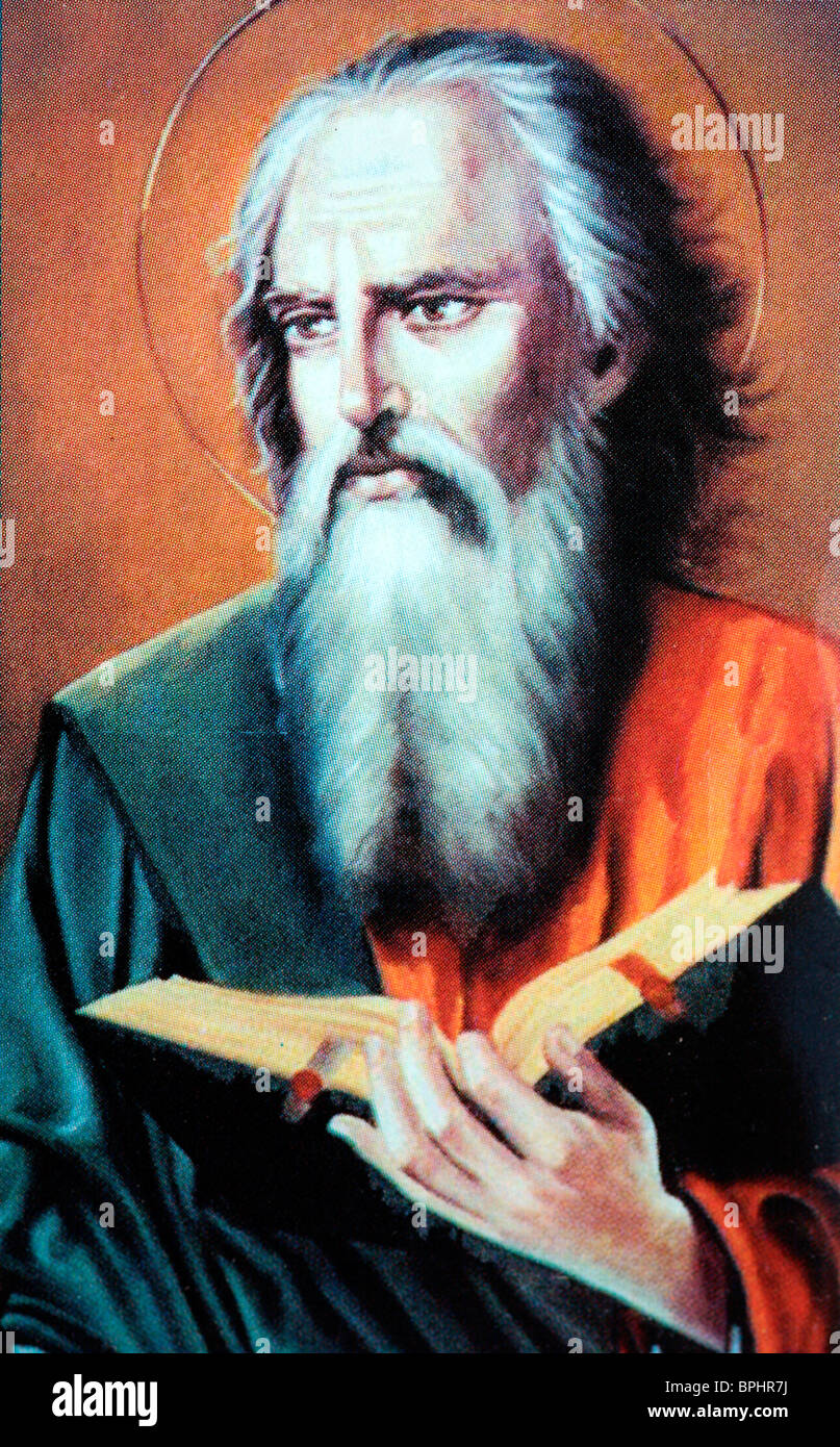 Artwork of the Apostle Saint Paul who became a Christian convert `on the road to Damascus`. - Stock Image