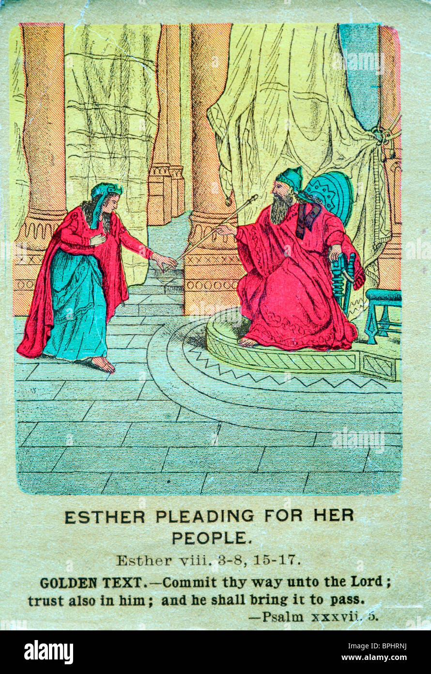 Old bible card, Esther pleading for her people - Stock Image
