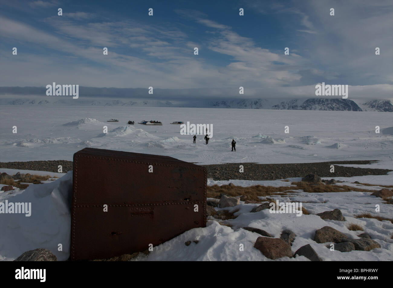Spring floe edge diving in Lancaster Sound, Pond, Inlet, Baffin Island, Nunavut, Canada - Stock Image