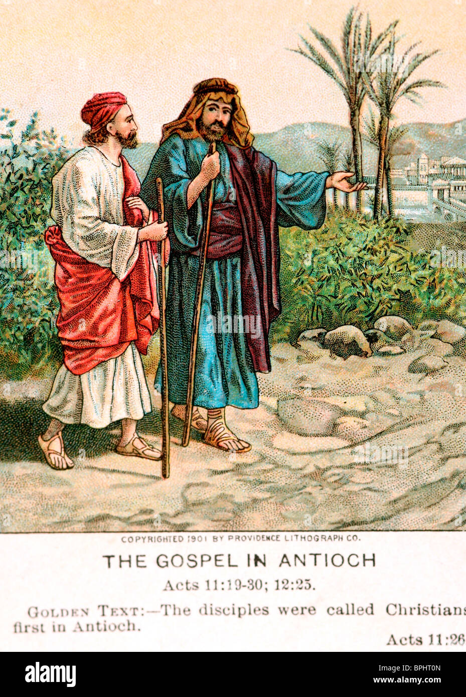 An old bible card depicting the 'Gospel at Antioch,' Paul on the road to conversion - Stock Image