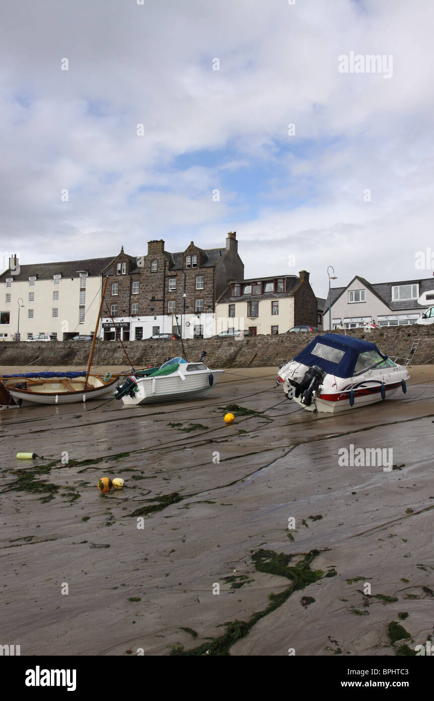 Stonehaven harbour at low tide Scotland  August 2010 - Stock Image