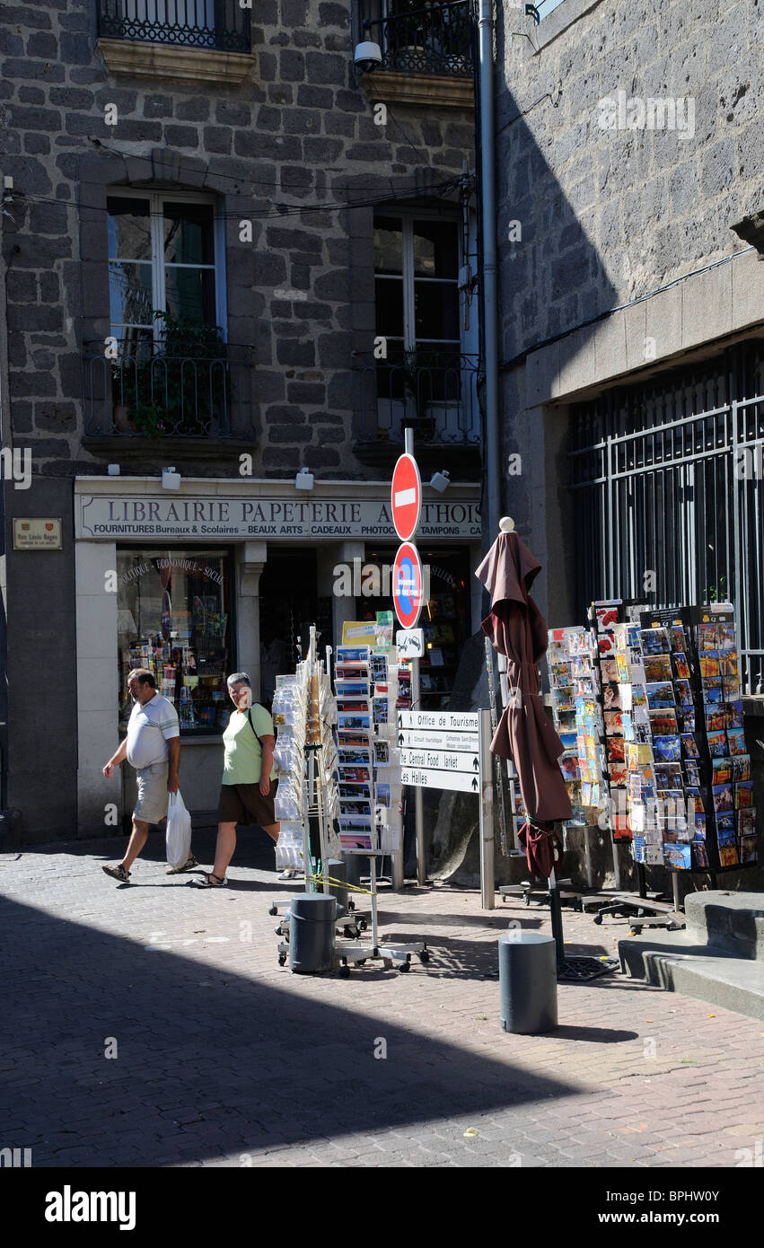 Postcards on sale on Rue Louis Bages in Agde a city in the Languedoc Roussillon region South of France - Stock Image