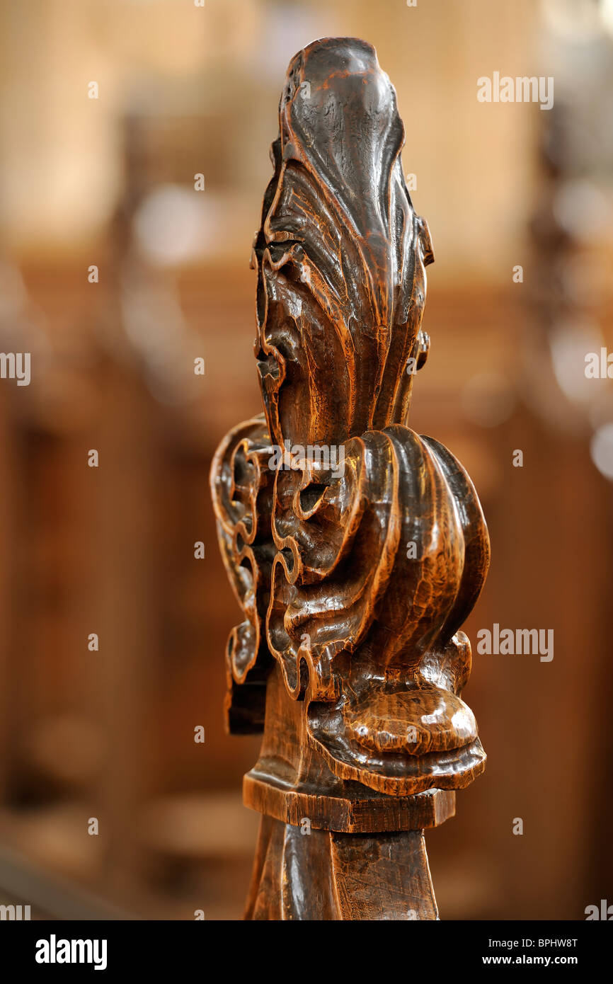 Wooden Pew - detail - Stock Image