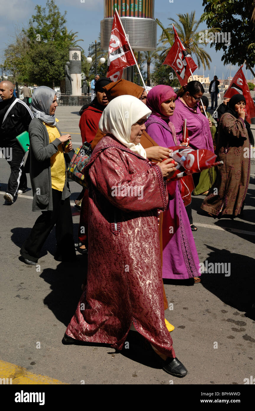 Spanish Ceuta Women at May Day Workers Demonstration, Ceuta, Spain - Stock Image