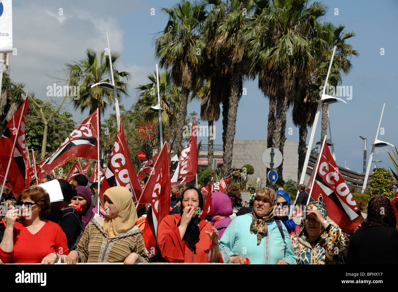 Spanish Ceuta Women of Immigrant Origin at May Day Workers Demonstration, Ceuta, Spain - Stock Image