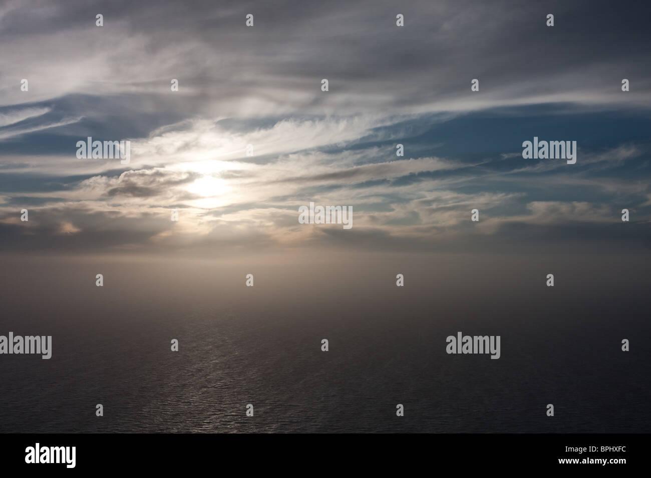 The Sahara dust phenomenon reaching the coast of the Peloponnese, Greece - Stock Image