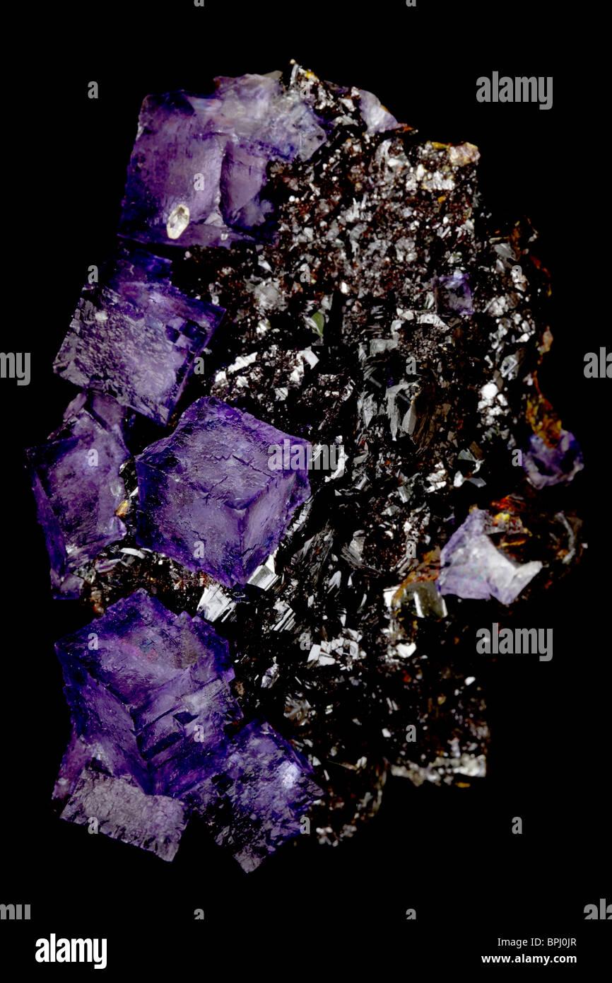Fluorite on Sphalerite - Elmwood Mine - Tennessee - USA - Stock Image