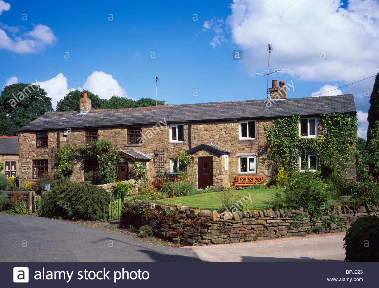 Cottages, White Coppice, West Pennine Moors, near Chorley, Lancashire, England, UK - Stock Image