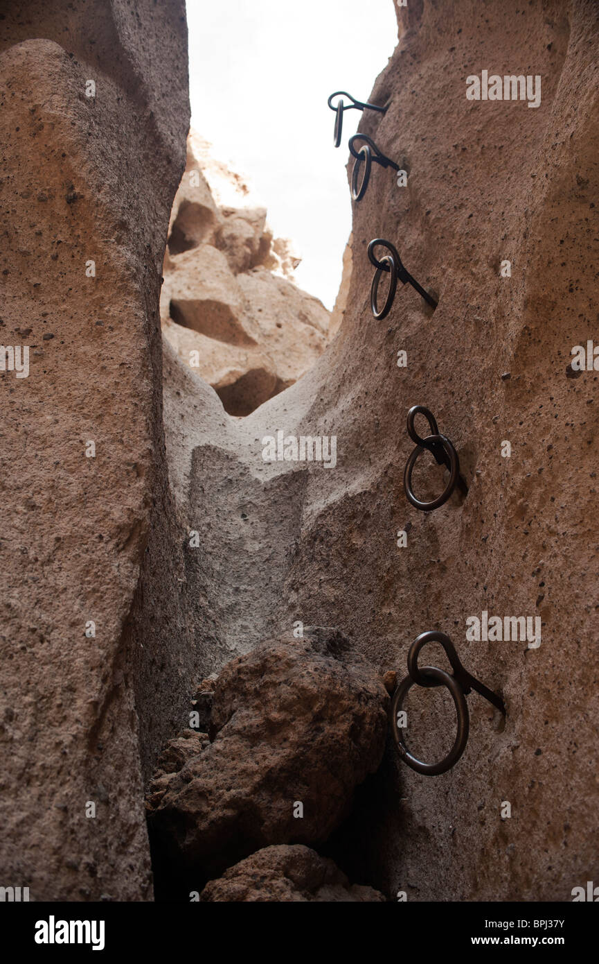 The climbing rings on the Ring Trail in the Hole-in-the-Wall area of the Mojave National Preserve, California Stock Photo