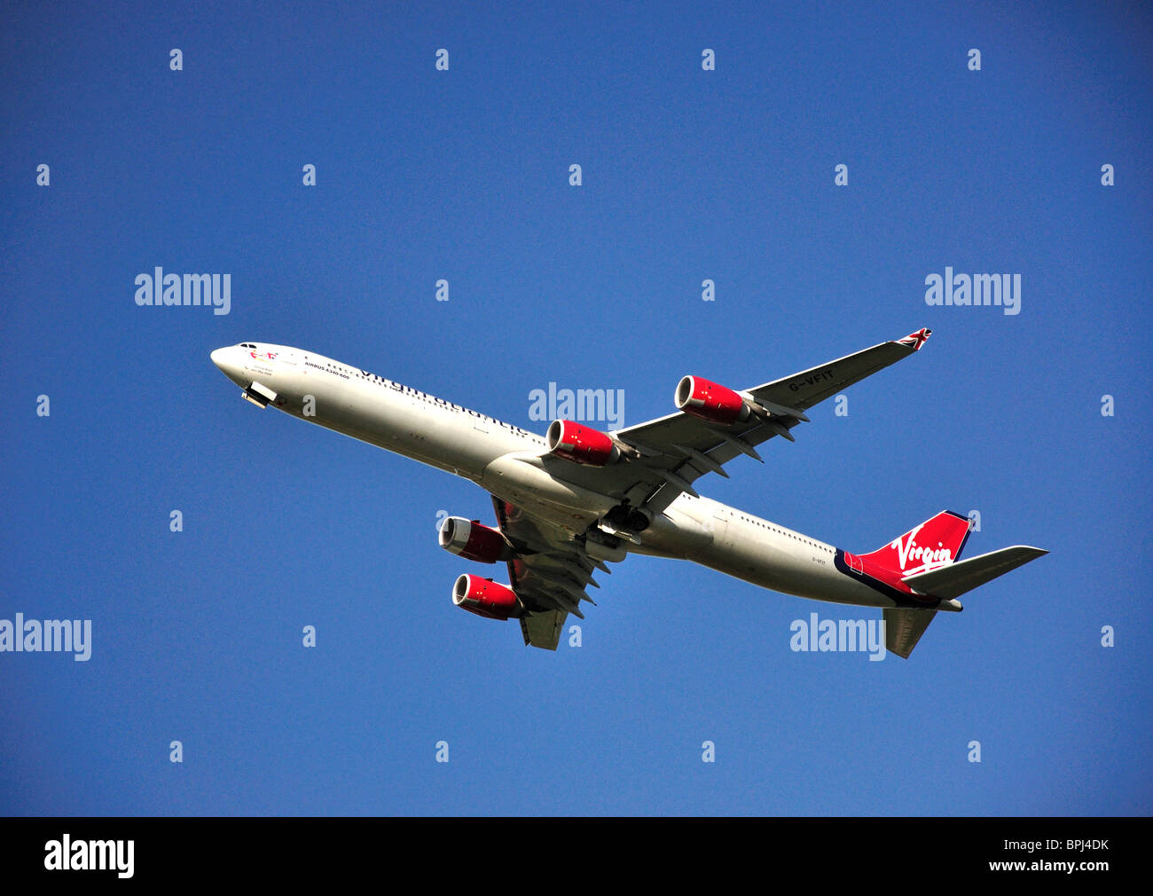 Virgin Atlantic Airbus A340-600 taking off from Heathrow Airport, Greater London, England, United Kingdom - Stock Image