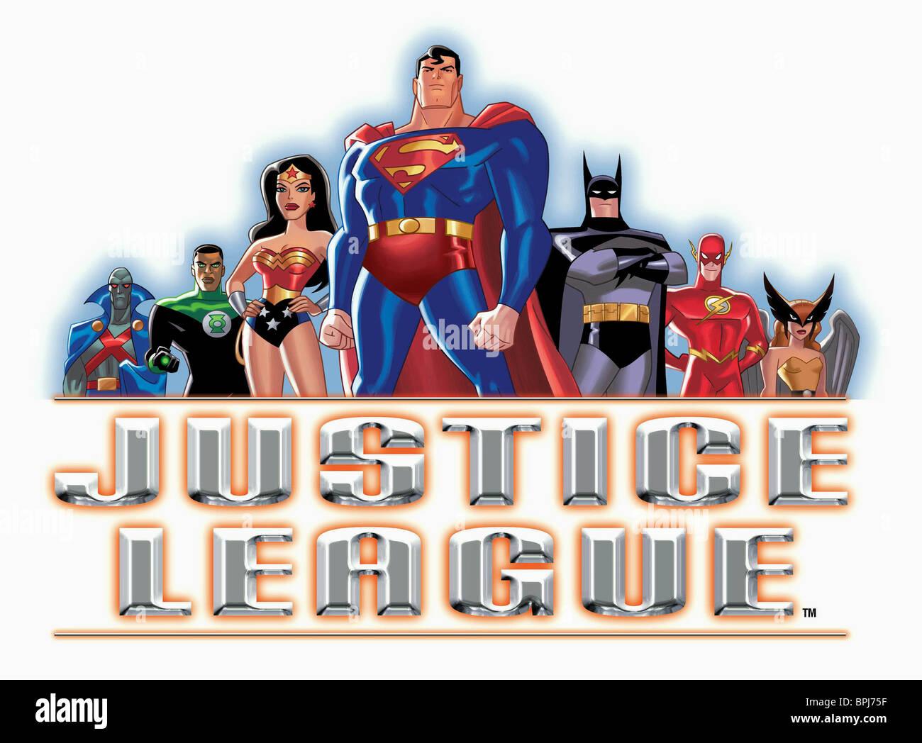THE MARTIAN MANHUNTER GREEN LANTERN II WONDER WOMAN SUPERMAN BATMAN THE FLASH & HAWKGIRL JUSTICE LEAGUE (2002) - Stock Image