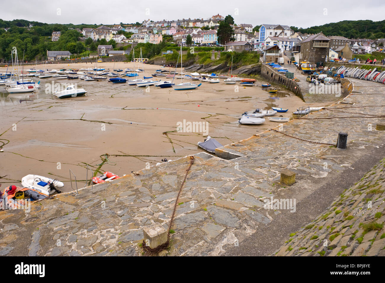 View over harbour at the seaside holiday resort of New Quay Ceredigion West Wales UK - Stock Image