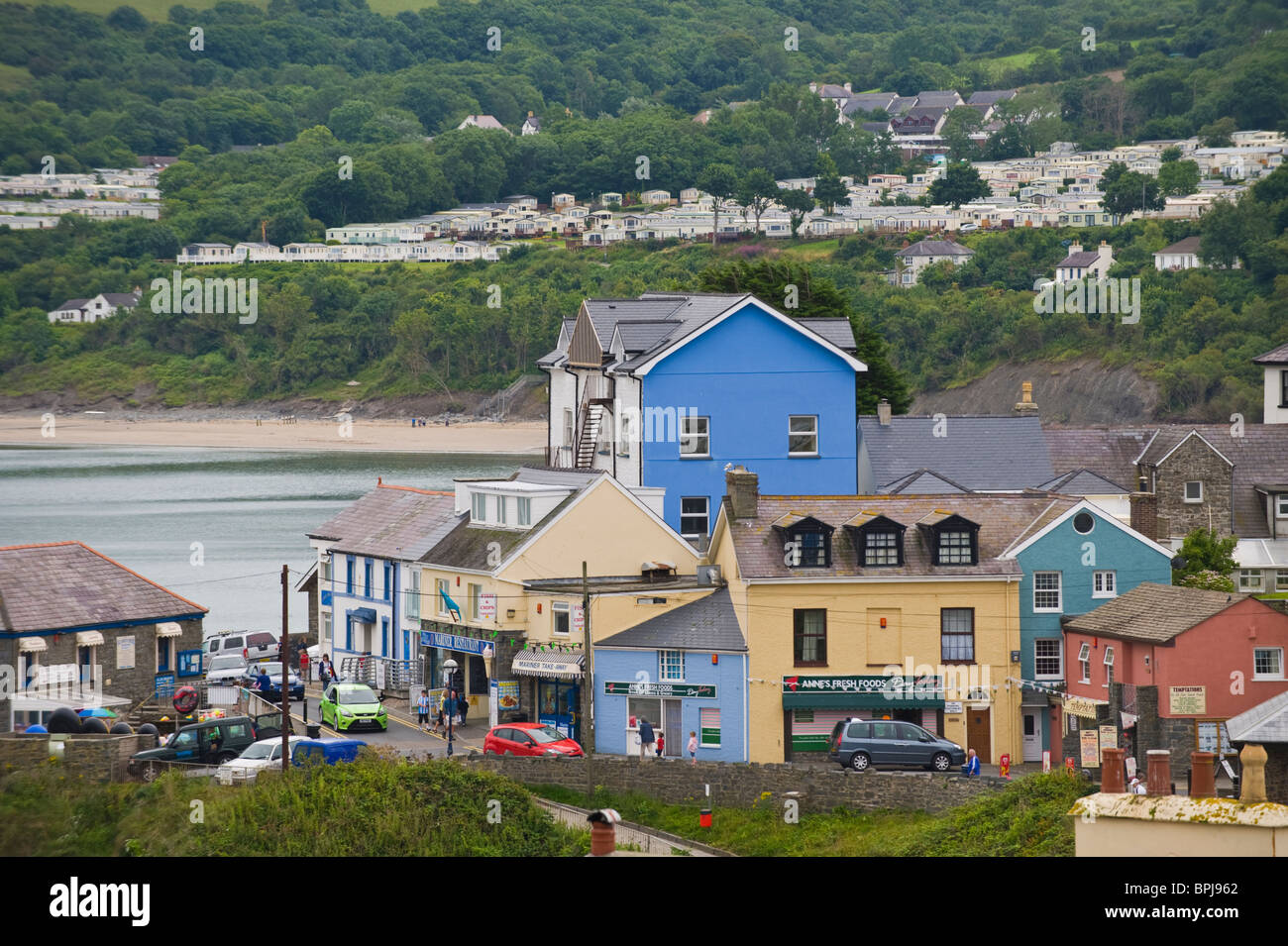 View over town centre of the seaside holiday resort of New Quay Ceredigion West Wales UK - Stock Image