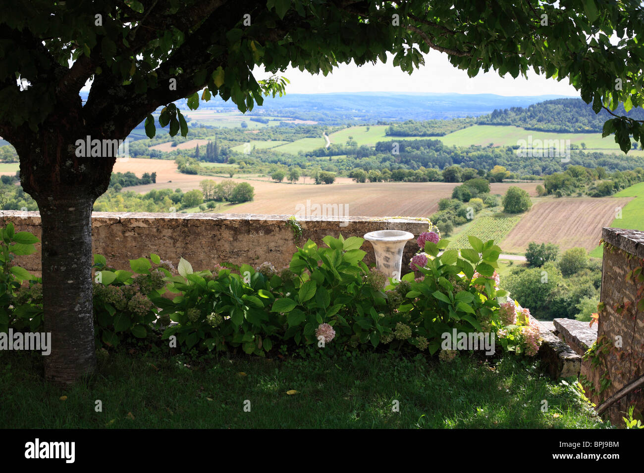 A Terrace in the French Village of Vezelay with a view over the Morvan Regional Park. - Stock Image