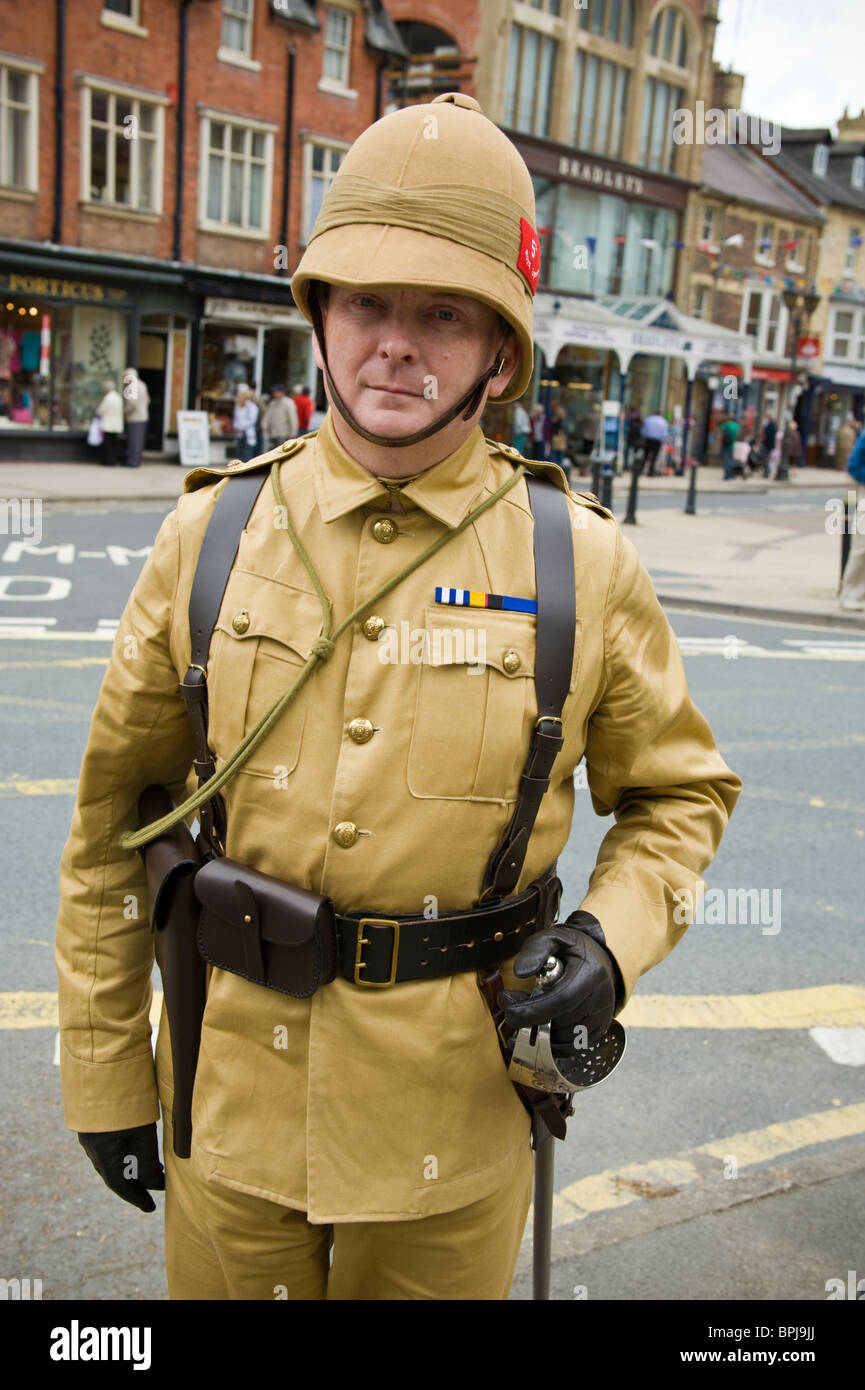 Man in period military uniform at the Victorian Festival in Llandrindod Wells Powys Mid Wales UK Stock Photo