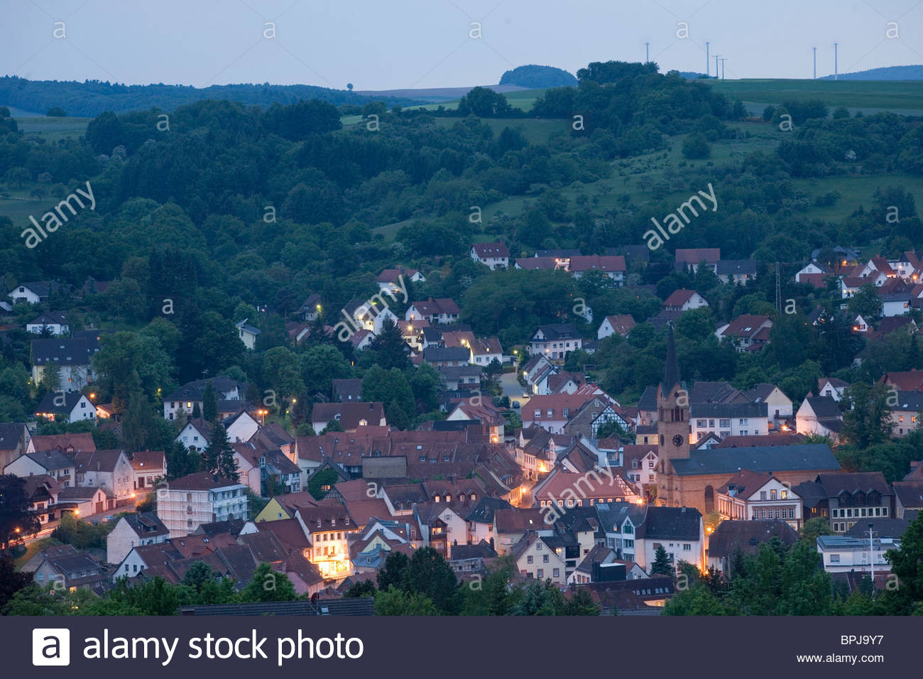View over old town, Kusel, Musicians' Land, Rhineland-Palatinate, Germany Stock Photo