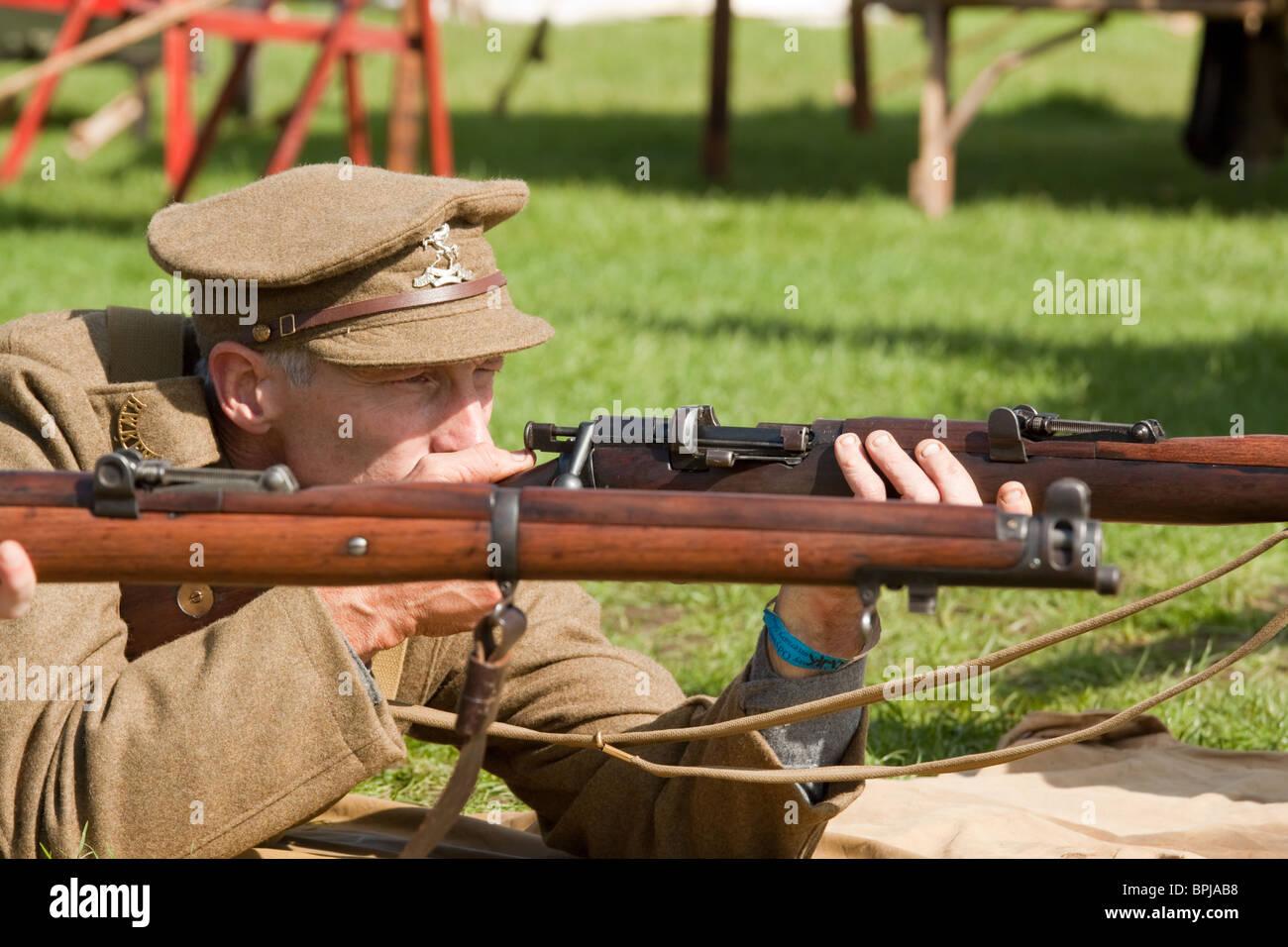 First World War WW1 British Rifleman Reenactor Stock Photo