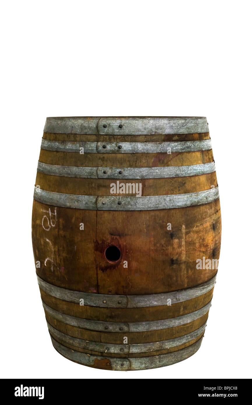 oak wine barrel cutout - Stock Image