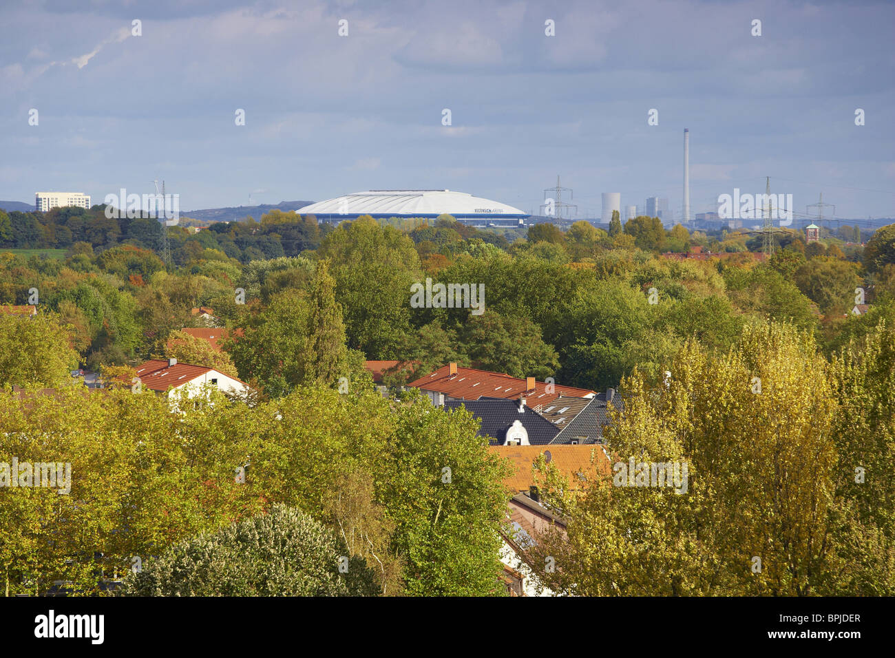 View at Veltins Arena at Gelsenkirchen, Ruhrgebiet, North Rhine-Westphalia, Germany, Europe - Stock Image