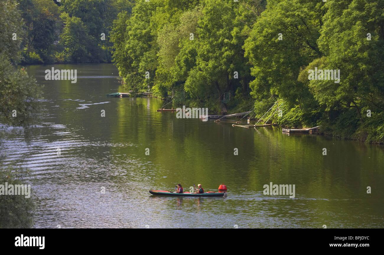 River Ruhr at Essen-Werden, Ruhrgebiet, North Rhine-Westphalia, Germany, Europe - Stock Image